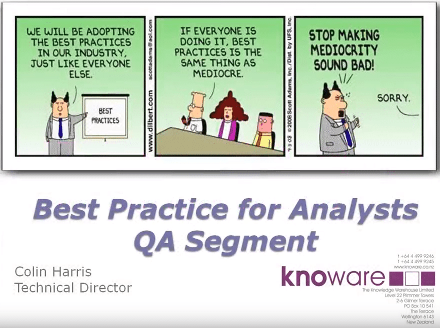 Best practices in Data Analysis Quality Assurance
